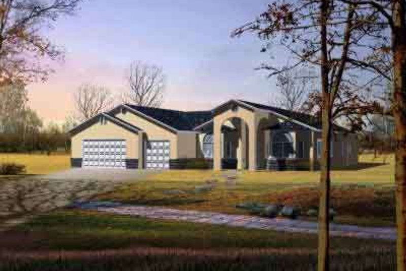Adobe / Southwestern Style House Plan - 4 Beds 2.5 Baths 2743 Sq/Ft Plan #1-1090 Exterior - Front Elevation