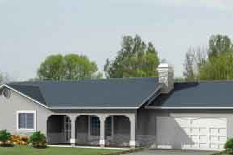 Adobe / Southwestern Style House Plan - 3 Beds 2 Baths 1546 Sq/Ft Plan #1-1031 Exterior - Front Elevation