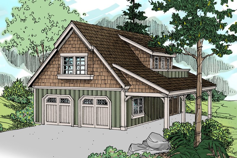 Craftsman Style House Plan - 1 Beds 1 Baths 804 Sq/Ft Plan #124-657 Exterior - Front Elevation