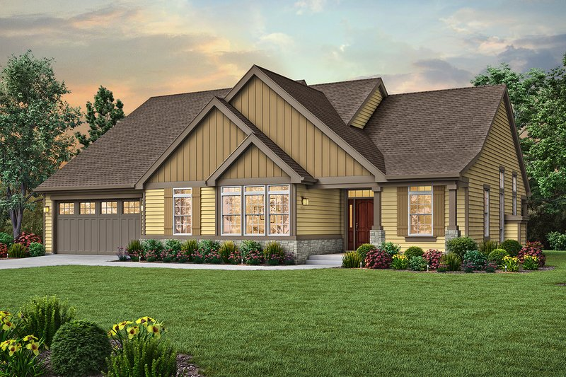 Craftsman Style House Plan - 3 Beds 2 Baths 2054 Sq/Ft Plan #48-956 Exterior - Front Elevation