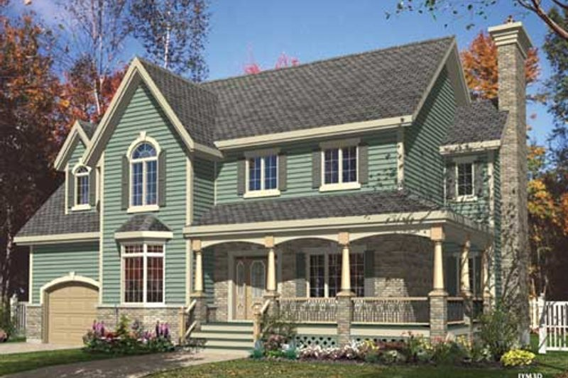 Country Style House Plan - 4 Beds 2.5 Baths 2344 Sq/Ft Plan #138-299 Exterior - Front Elevation