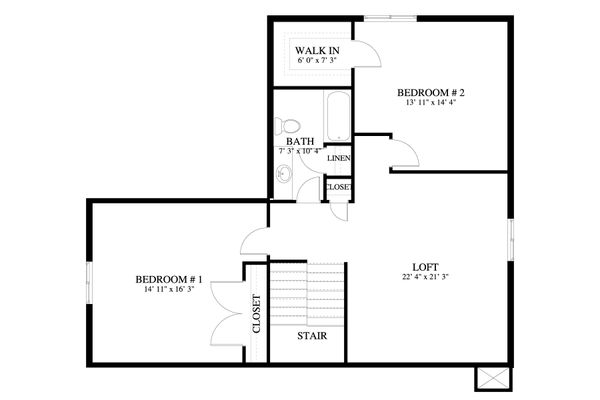 Craftsman Floor Plan - Upper Floor Plan Plan #1060-50