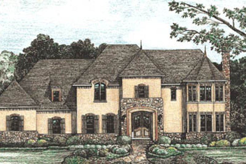 European Exterior - Front Elevation Plan #20-1132
