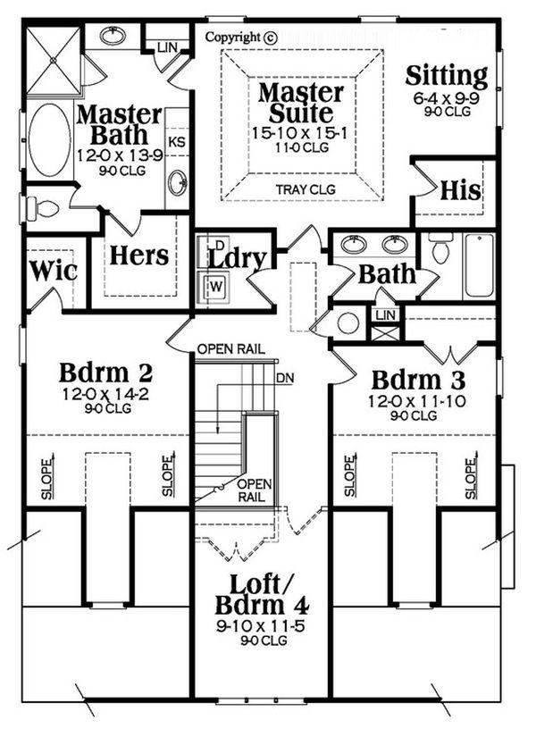 Bungalow Floor Plan - Upper Floor Plan Plan #419-291
