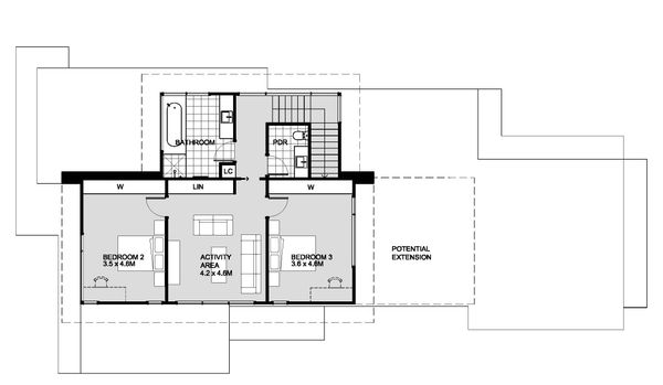 Modern Floor Plan - Upper Floor Plan Plan #496-26