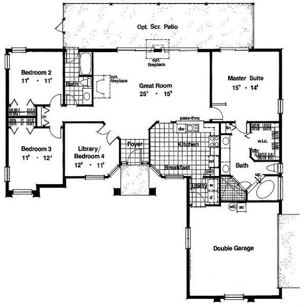 Mediterranean Floor Plan - Main Floor Plan Plan #417-149