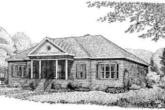 Southern Exterior - Front Elevation Plan #306-114