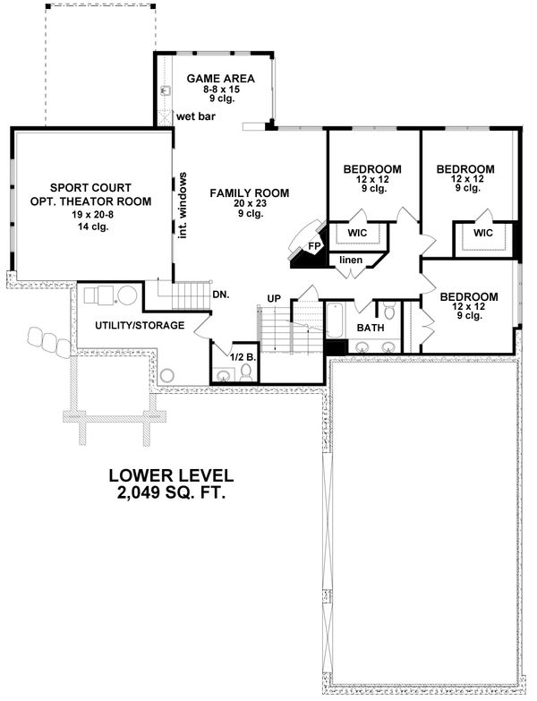 Craftsman Floor Plan - Lower Floor Plan Plan #51-563