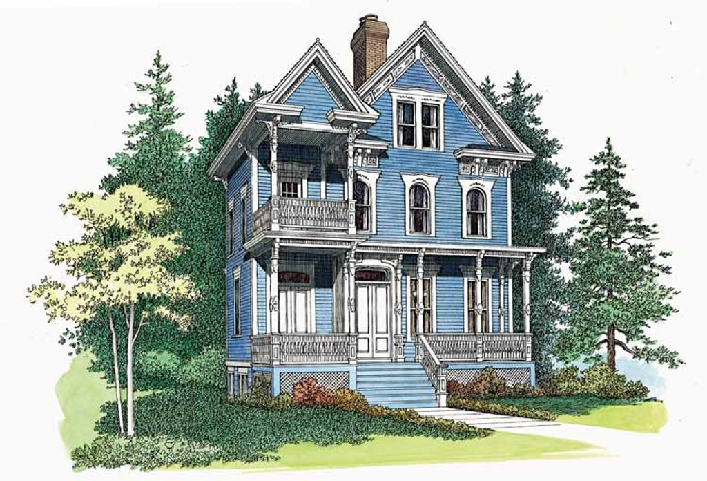 Victorian style house plan 3 beds 3 5 baths 2566 sq ft for Victorian style home plans