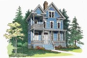 Victorian Style House Plan - 3 Beds 3.5 Baths 2566 Sq/Ft Plan #72-885 Exterior - Front Elevation