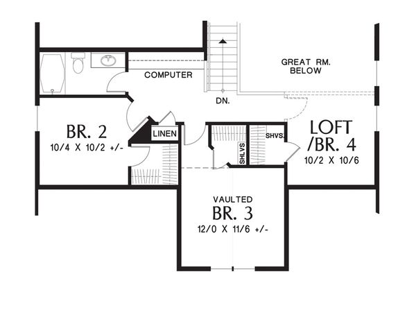 Craftsman Floor Plan - Upper Floor Plan Plan #48-643