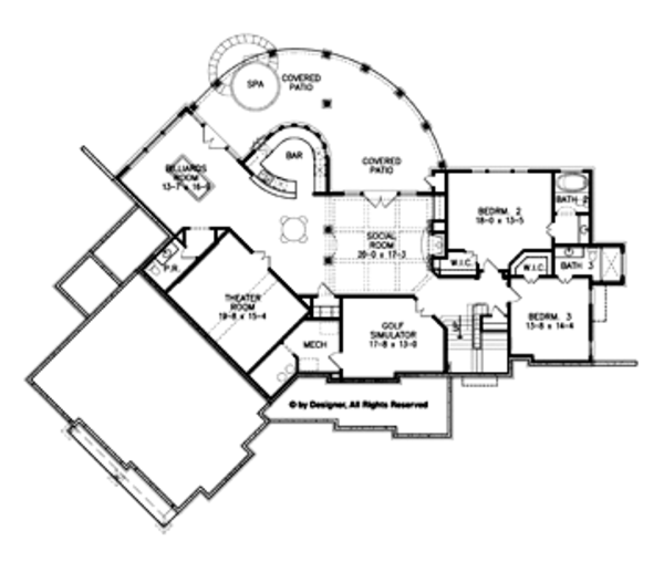 Craftsman Floor Plan - Lower Floor Plan Plan #54-352