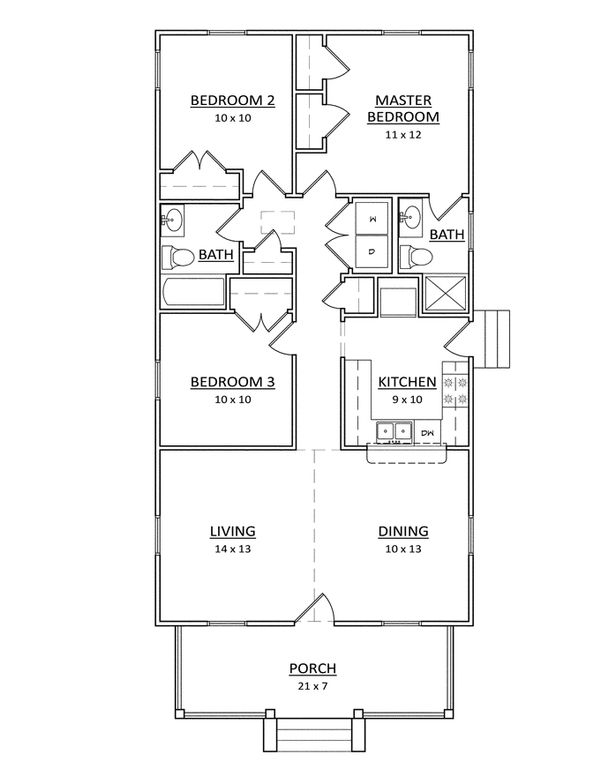 Craftsman Floor Plan - Main Floor Plan Plan #936-24