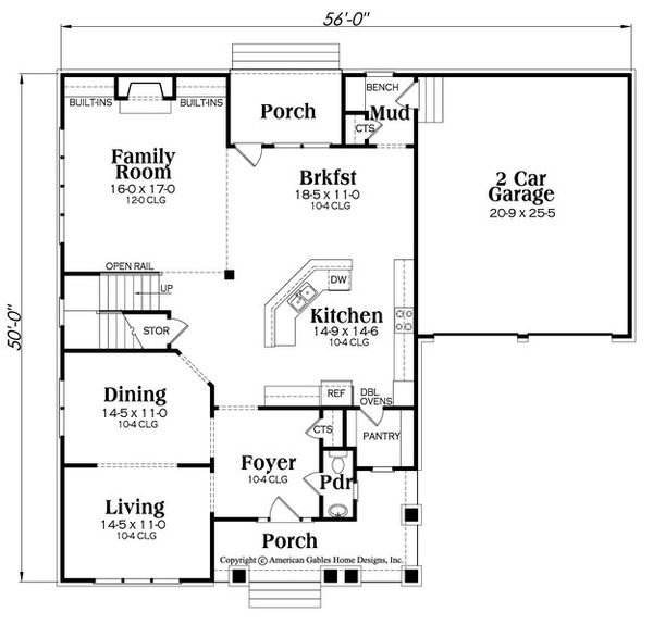 Craftsman Floor Plan - Main Floor Plan Plan #419-281