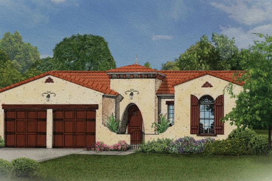 Mediterranean Exterior - Front Elevation Plan #1058-7