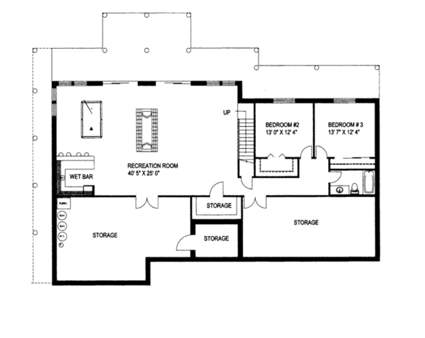 House Plan Design - Contemporary Floor Plan - Lower Floor Plan #117-842