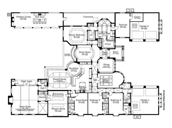 House Plan Design - Mediterranean Floor Plan - Main Floor Plan #1058-87