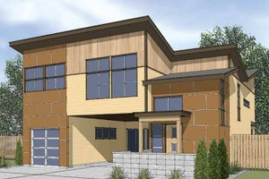 Architectural House Design - Contemporary Exterior - Front Elevation Plan #569-13