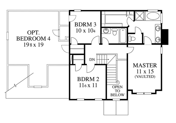 Colonial Floor Plan - Upper Floor Plan Plan #1053-66