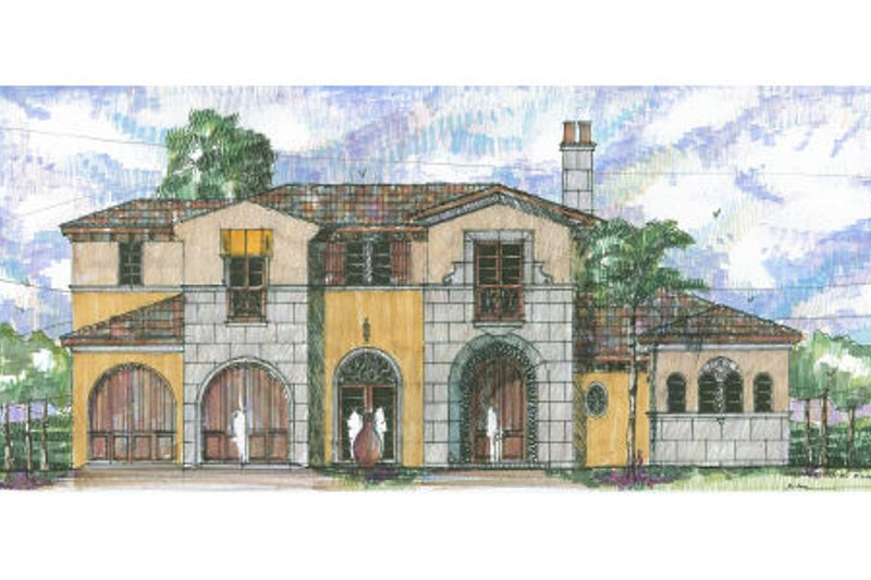 Mediterranean Style House Plan - 4 Beds 3.5 Baths 5329 Sq/Ft Plan #426-4 Exterior - Front Elevation