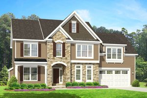Colonial Exterior - Front Elevation Plan #1010-92