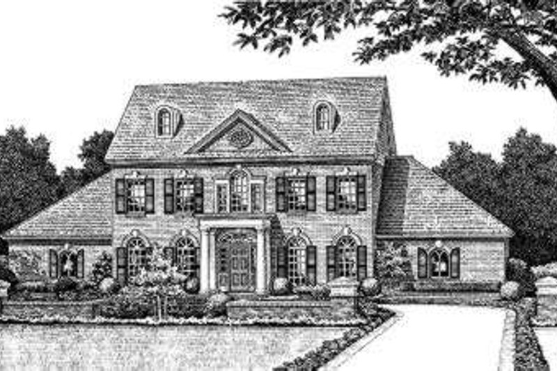 Colonial Style House Plan - 4 Beds 3.5 Baths 2959 Sq/Ft Plan #310-213 Exterior - Front Elevation