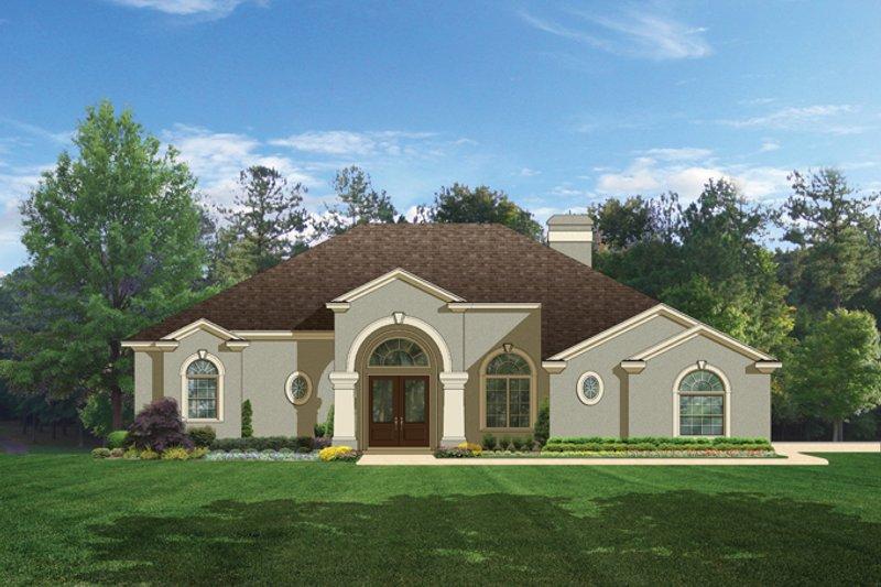 Architectural House Design - Mediterranean Exterior - Front Elevation Plan #1058-45