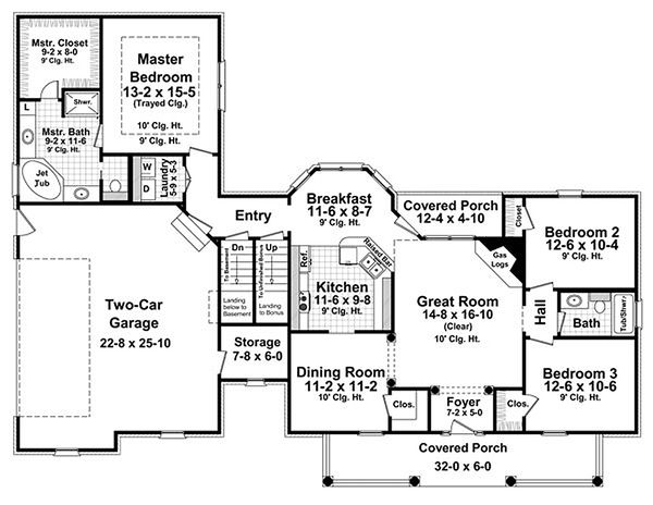 Country Floor Plan - Main Floor Plan Plan #21-301