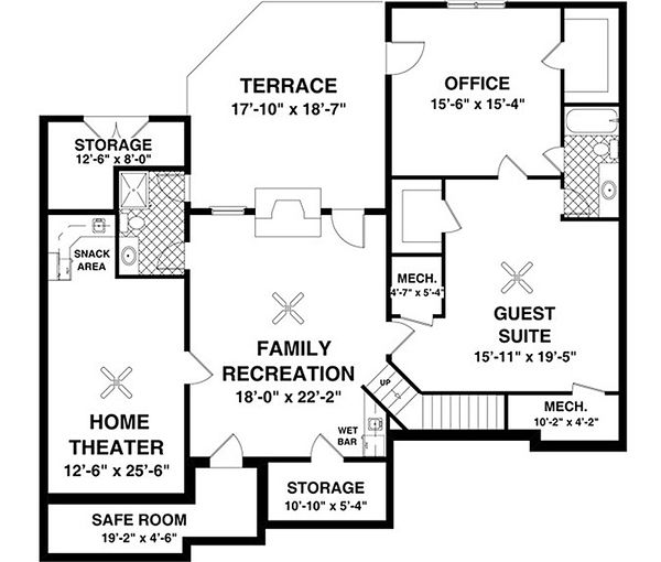 Traditional Floor Plan - Lower Floor Plan Plan #56-635