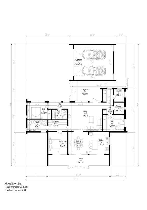 Modern Style House Plan - 3 Beds 2 Baths 2812 Sq/Ft Plan #549-15 Floor Plan - Main Floor Plan