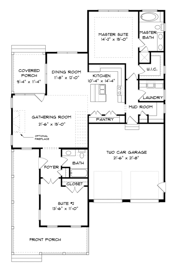 Country Floor Plan - Main Floor Plan Plan #413-893