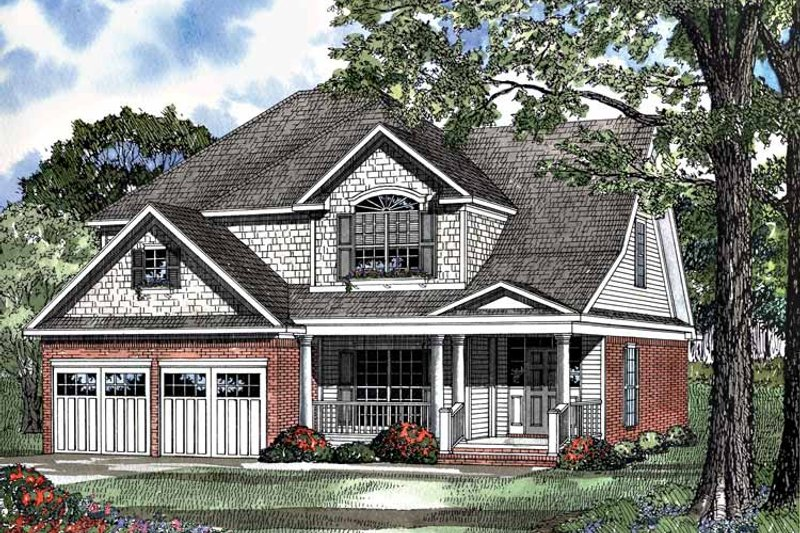 Architectural House Design - Country Exterior - Front Elevation Plan #17-3080