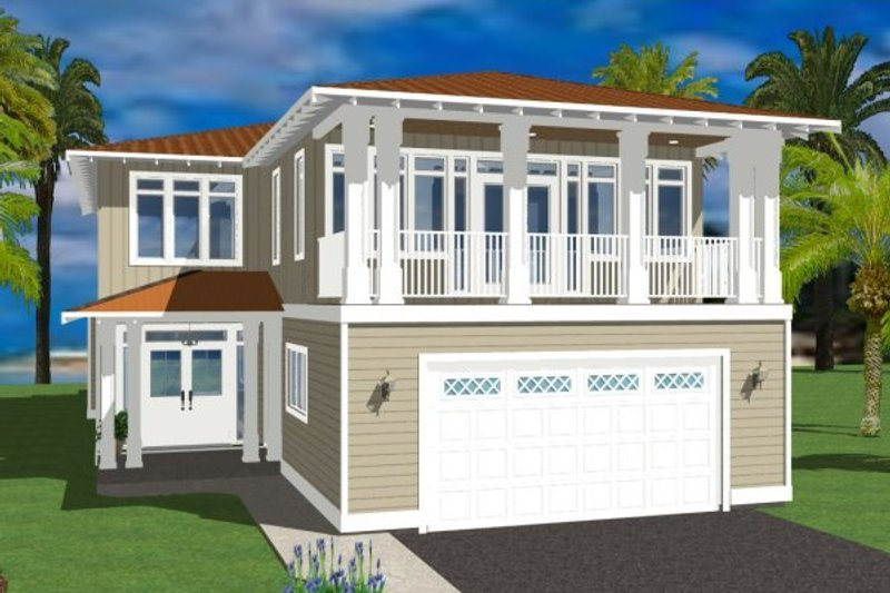 Beach Exterior - Front Elevation Plan #126-154