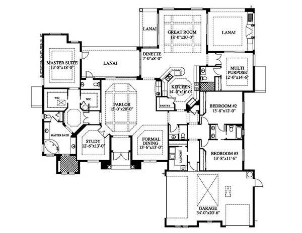 Mediterranean Floor Plan - Main Floor Plan Plan #426-18