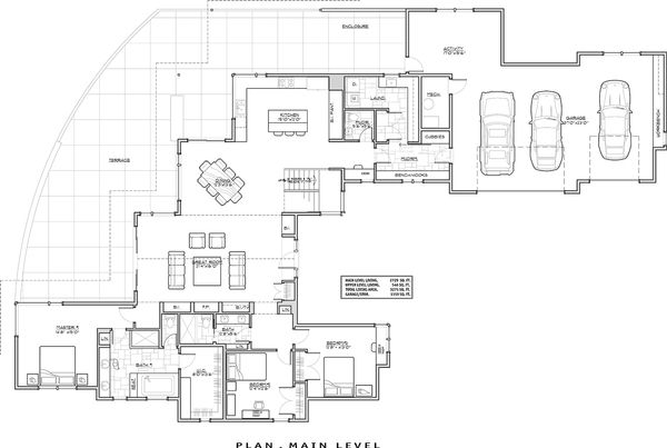 Contemporary Floor Plan - Main Floor Plan Plan #892-15