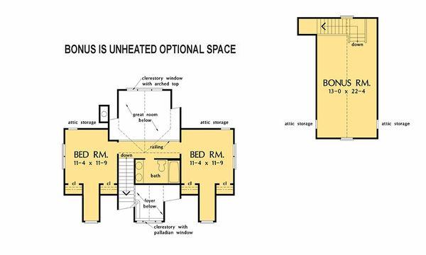 Country Floor Plan - Upper Floor Plan Plan #929-1062