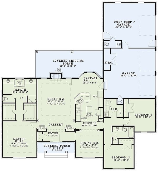 Ranch Floor Plan - Main Floor Plan Plan #17-174