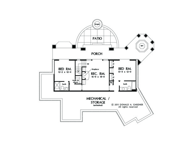 Craftsman Floor Plan - Lower Floor Plan Plan #929-26