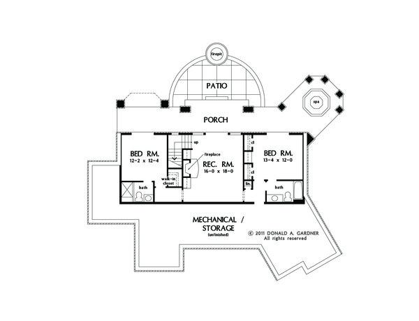 Craftsman Floor Plan - Lower Floor Plan #929-26