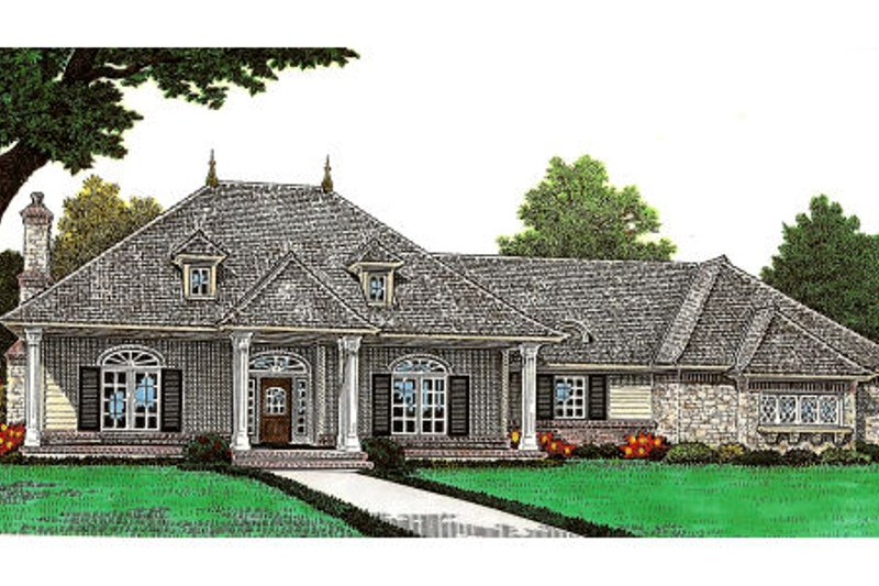 European Style House Plan - 2 Beds 2 Baths 2048 Sq/Ft Plan #310-650 Exterior - Front Elevation