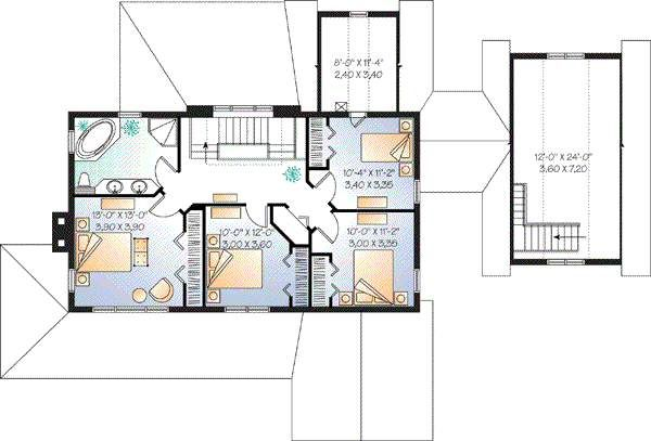 Farmhouse Floor Plan - Upper Floor Plan Plan #23-877