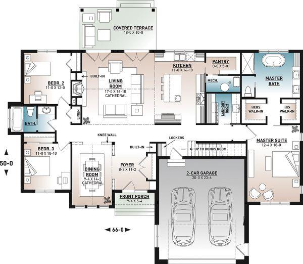 Architectural House Design - Farmhouse Floor Plan - Main Floor Plan #23-2723