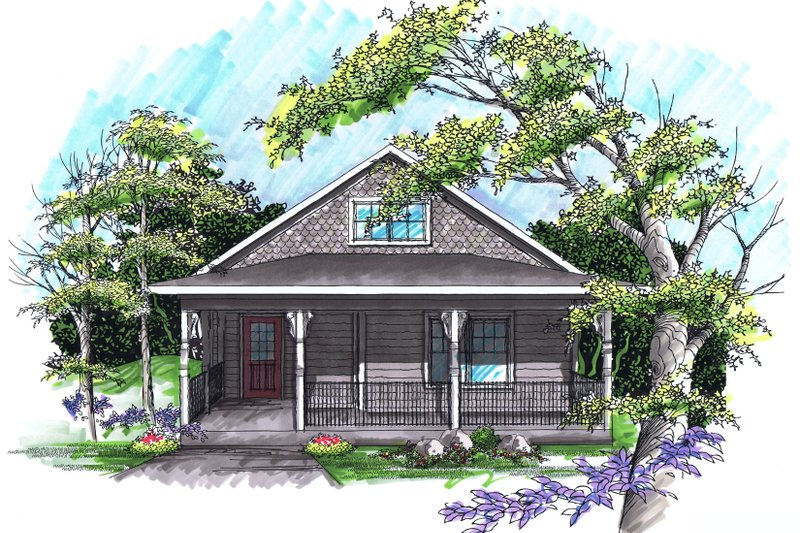 Ranch Exterior - Front Elevation Plan #70-1023