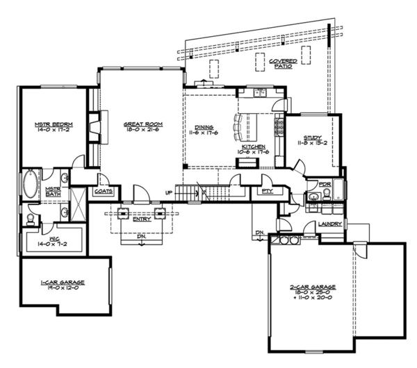Contemporary Floor Plan - Main Floor Plan Plan #132-563