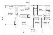 Ranch Style House Plan - 3 Beds 2 Baths 1486 Sq/Ft Plan #22-588
