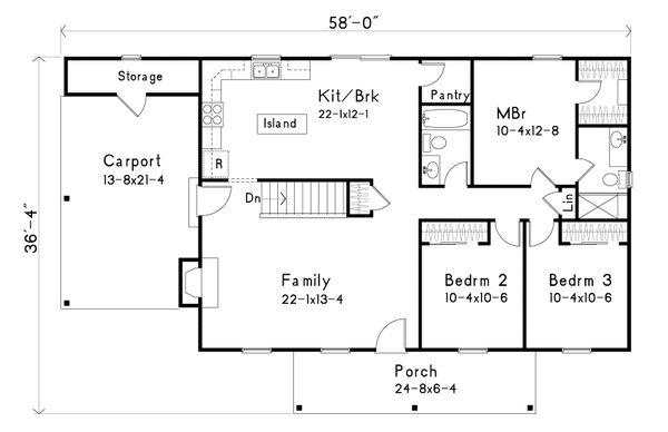 House Plan Design - Ranch Floor Plan - Main Floor Plan #22-588