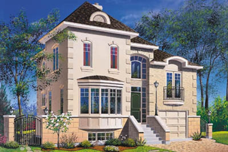 European Style House Plan - 3 Beds 2.5 Baths 1759 Sq/Ft Plan #23-2087 Exterior - Front Elevation