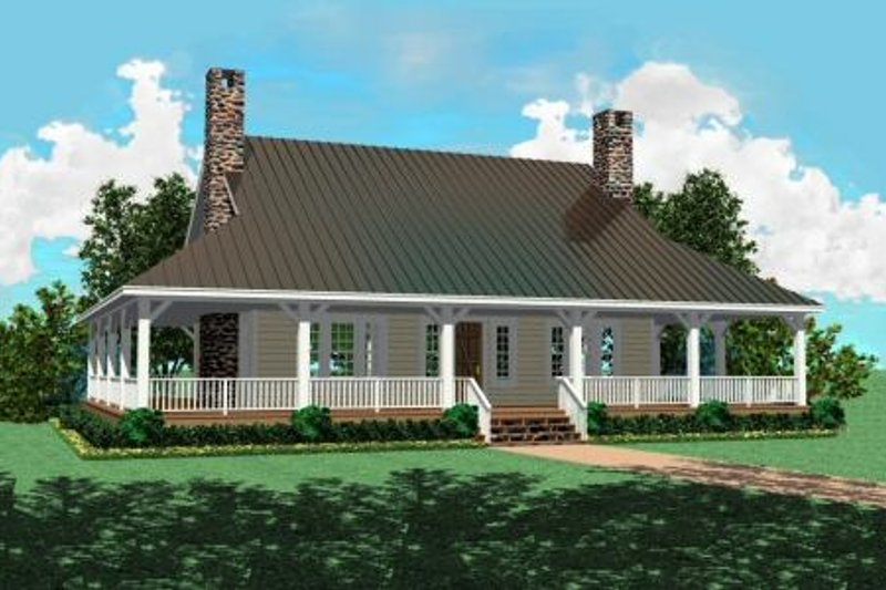 Country Style House Plan - 3 Beds 2.5 Baths 2207 Sq/Ft Plan #81-101 Exterior - Front Elevation