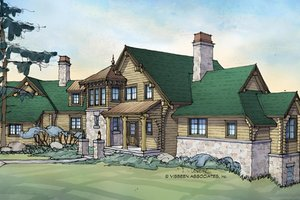 Log Exterior - Front Elevation Plan #928-258