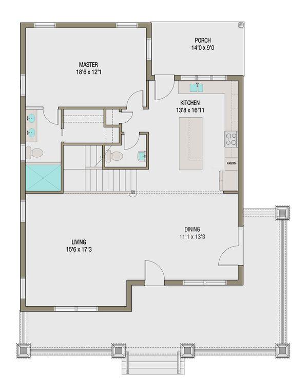 Craftsman Floor Plan - Main Floor Plan #461-45